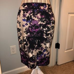 Ann Taylor Over the Knee Floral Skirt